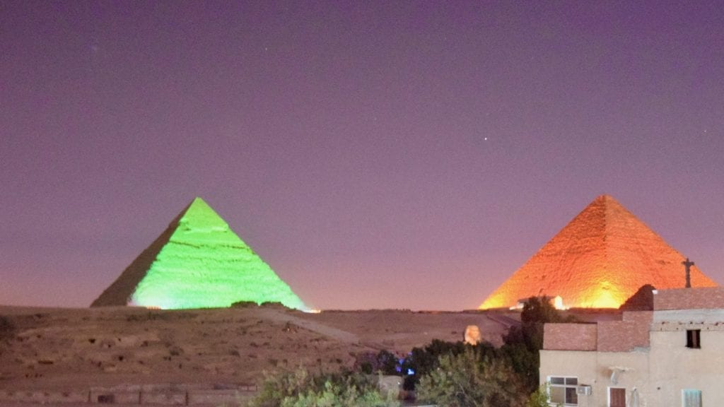 Light and sound show in the ancient pyramids of Giza.