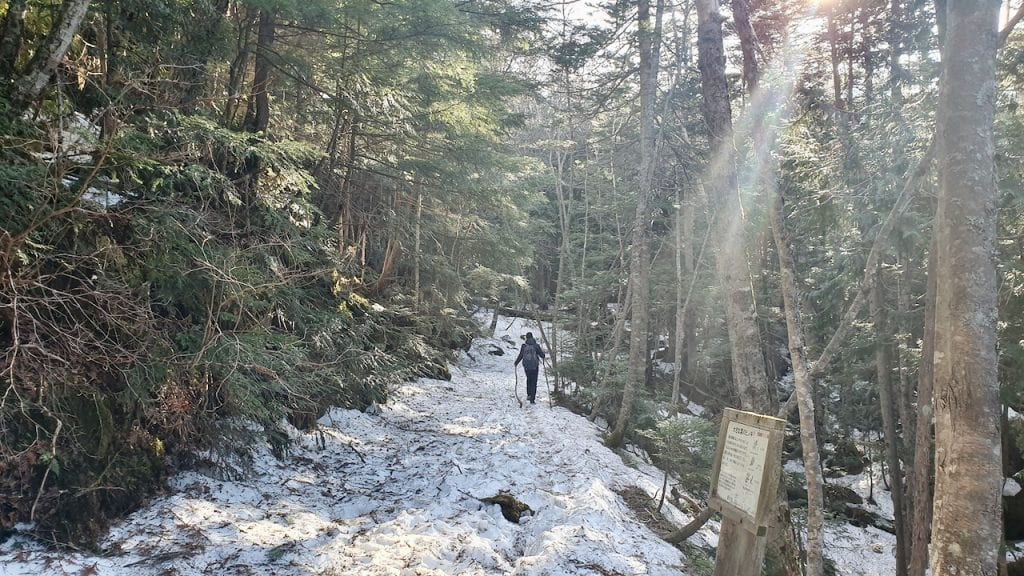 We saw snow during our hike to Karikomi lake in Japan.