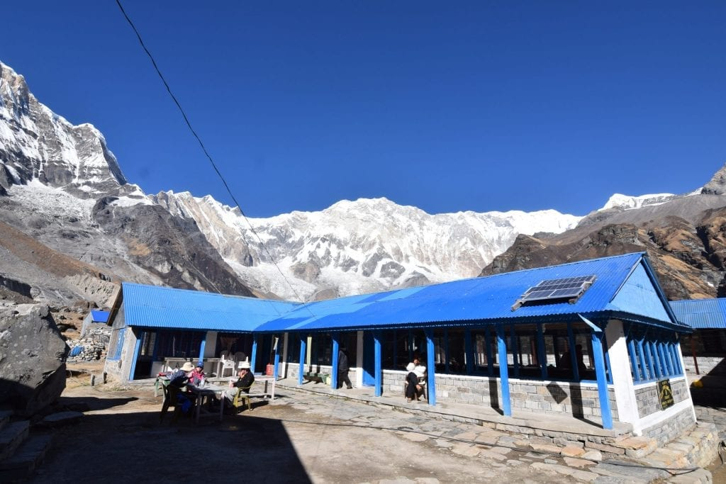 The breakfast is served amongst backdrop of mountains in the Annapurna Base Camp