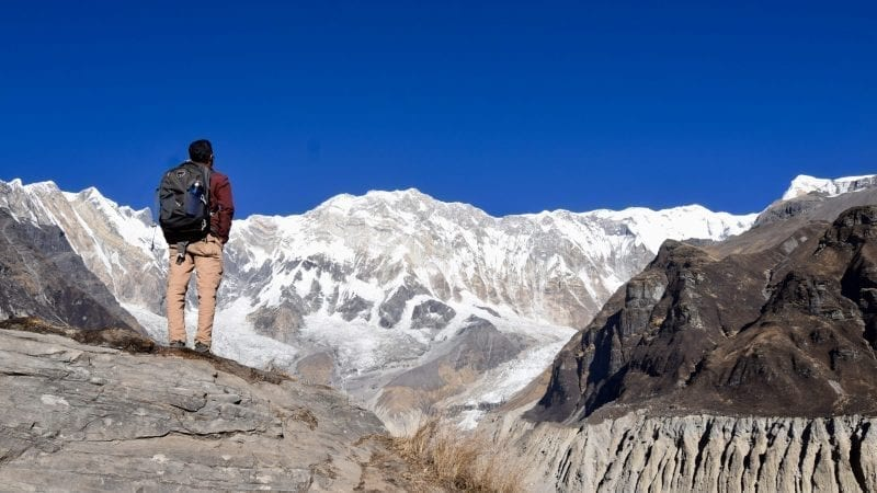 Standing in front of Annapurna Mountain