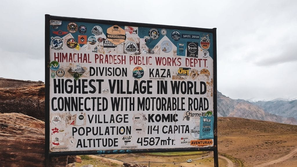 Komic village in Spiti valley is the highest village in world connected by a road